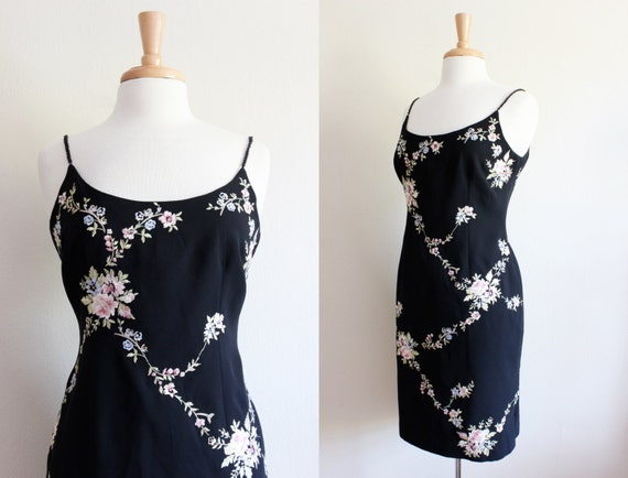 Vintage 1990s Floral Embroidered Black Dress