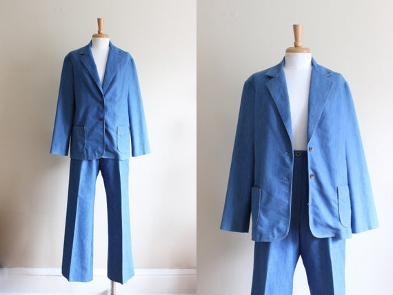 Vintage 1970s Chambray Denim Suit
