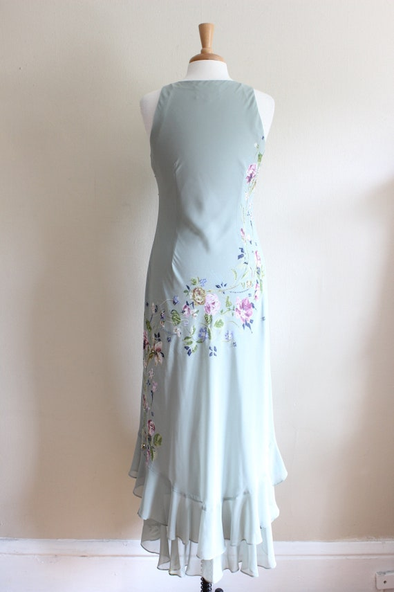 Vintage 1990s does 1930s Pale Green Beaded Floral… - image 10