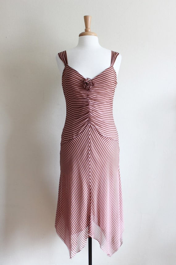 Vintage 1990s Pink & Brown Stripe Silk Chiffon Dr… - image 2