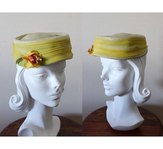 1960s Hat / Vintage Jacobson's Chartreuse Ombre Pi