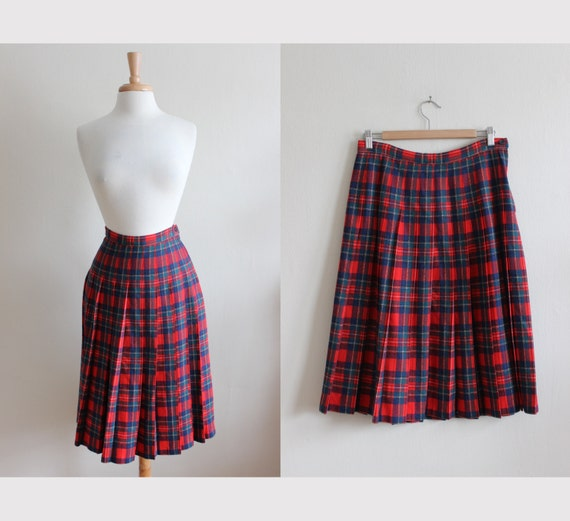 Vintage Pendleton Red Tartan Plaid Pleated Midi Sk