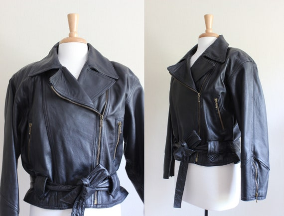 Vintage 1980s Black Leather Jacket