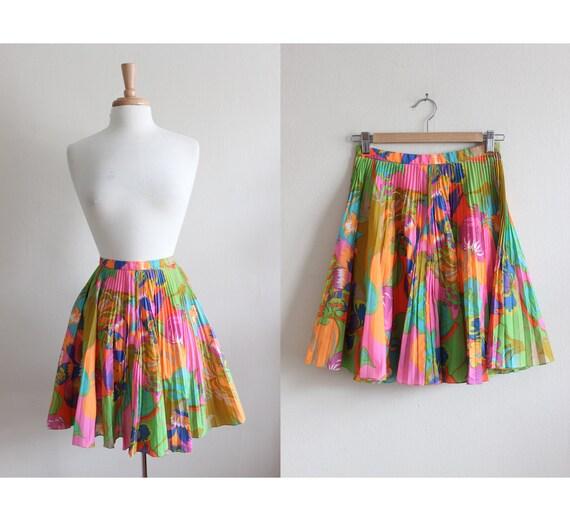1960s Skirt / Vintage Neon Floral Plissé Pleated M