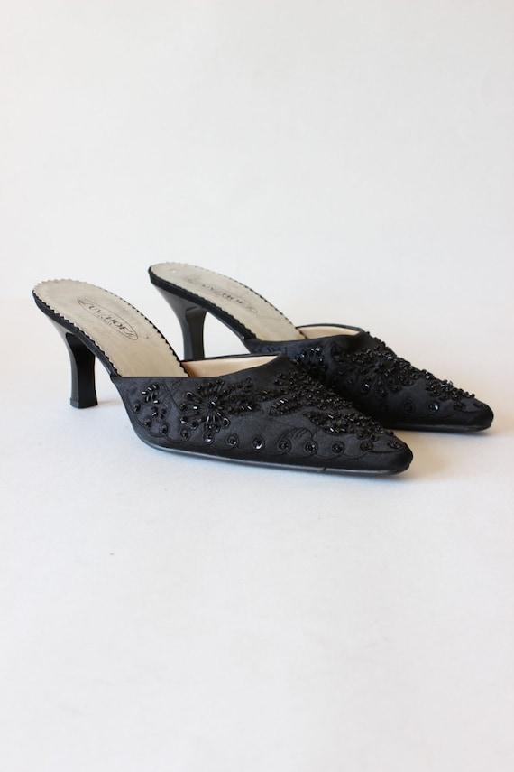 Vintage 1990s Black Beaded Satin High Heel Mules,… - image 2