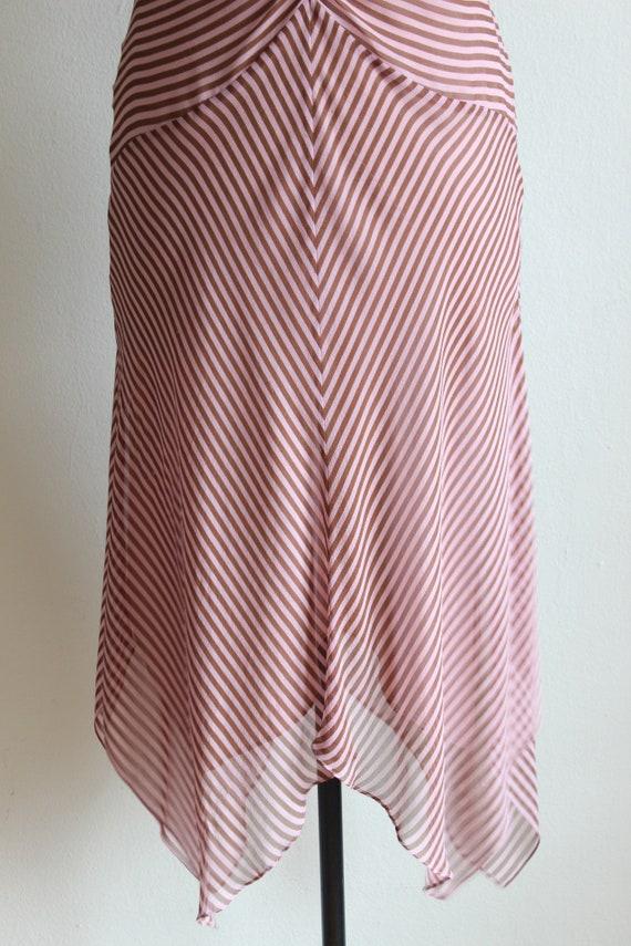 Vintage 1990s Pink & Brown Stripe Silk Chiffon Dr… - image 3