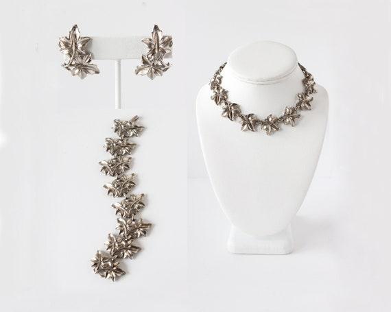 Vintage 1960s Necklace, Earrings, & Bracelet Silve