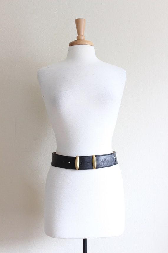 Vintage Donna Karan Wide Black Leather Belt