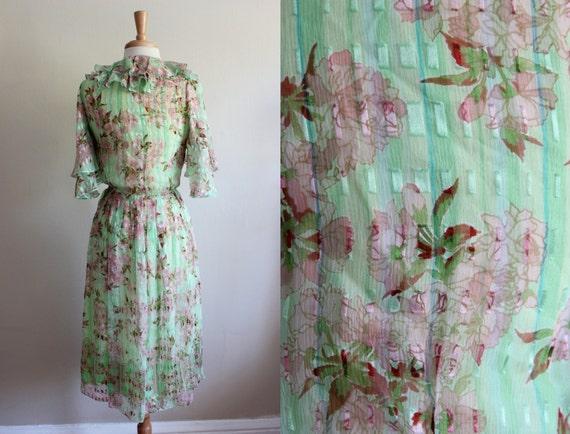Silk Pink Ruffle Dress Mint Floral 1970s amp; Vintage XwOatn