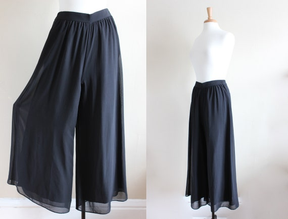 Vintage 1990s Black Chiffon Wide Leg Pants