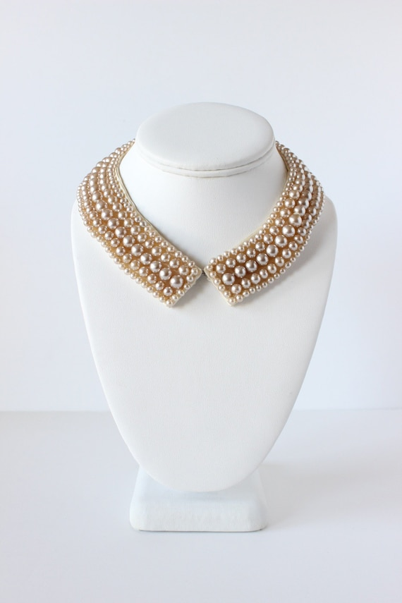 Vintage Champagne Faux Pearl Collar / Necklace