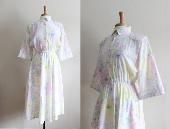 Vintage 1970s Pastel Floral Shirtwaist Dress - image 1