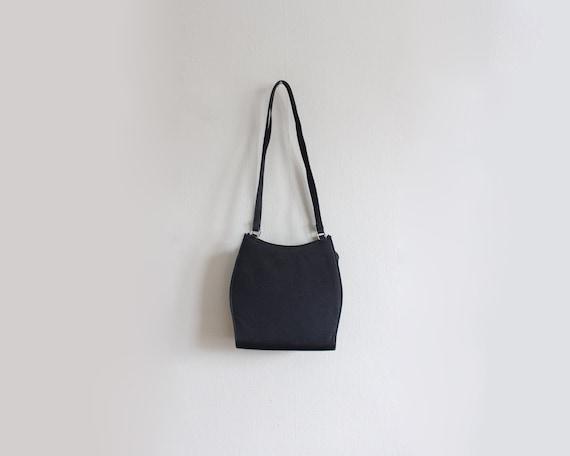 Vintage 1990s Minimalist Black Fabric Shoulder Bag