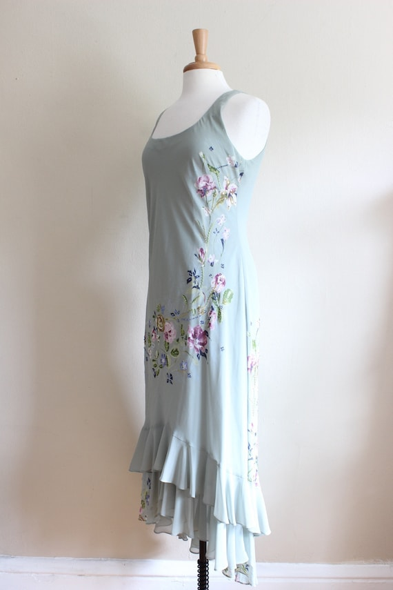 Vintage 1990s does 1930s Pale Green Beaded Floral… - image 7