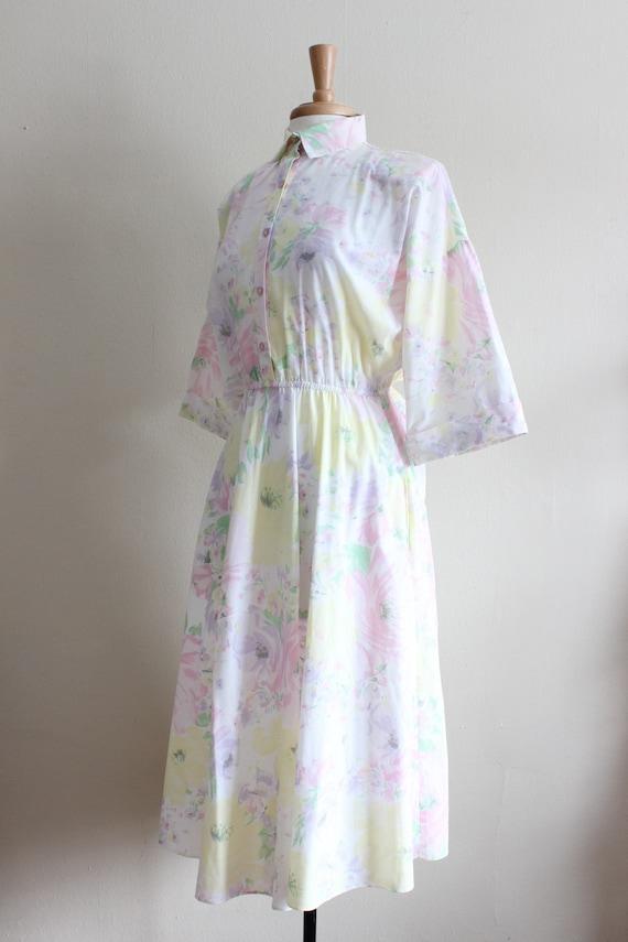 Vintage 1970s Pastel Floral Shirtwaist Dress - image 6