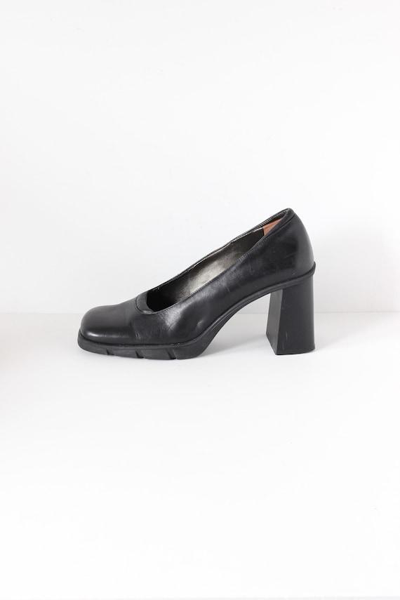 Vintage 1990s Aldo Black Leather Chunky Block Heel
