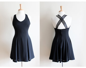 Vintage 1990s Black Strappy Back Fit and Flare Dress