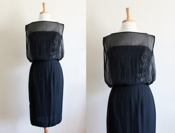 1960s Dress / Black Chiffon & Sequin Cocktail Dres