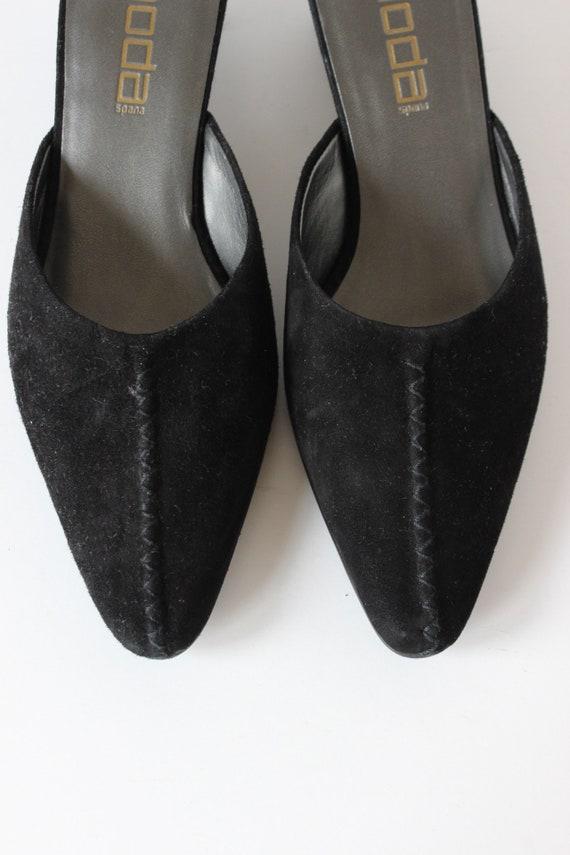Vintage 1990s Moda Black Suede Pointy Toe Mules, … - image 5
