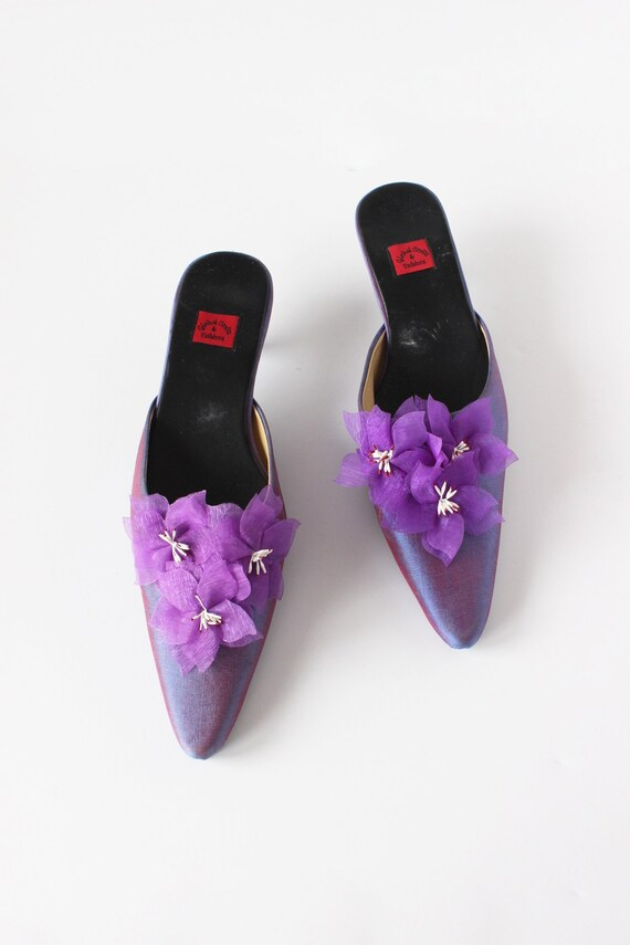 Vintage 1990s Iridescent Purple Flower Mules, siz… - image 2