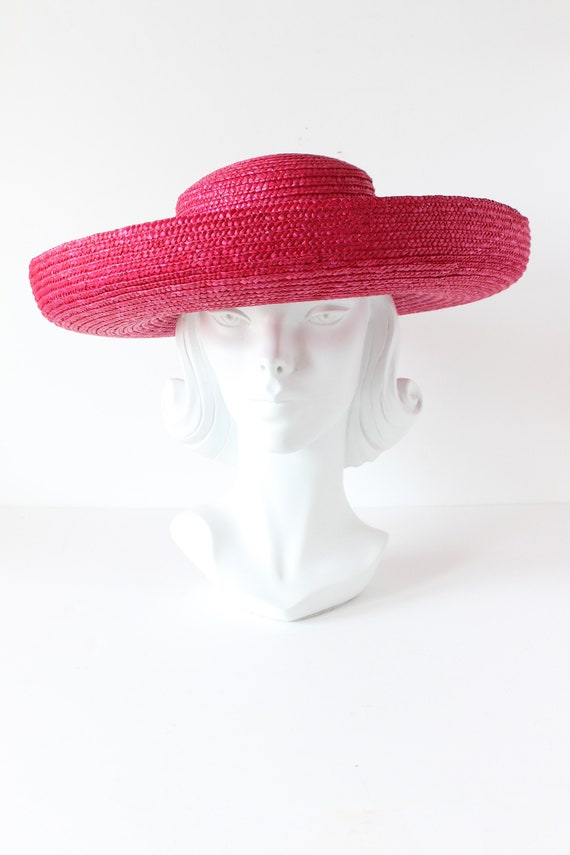 Vintage Hot Pink Wide Brim Straw Hat - image 2