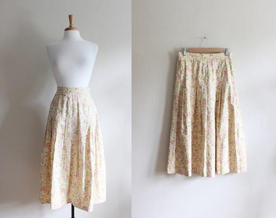 Vintage Laura Ashley Yellow Floral Midi Skirt