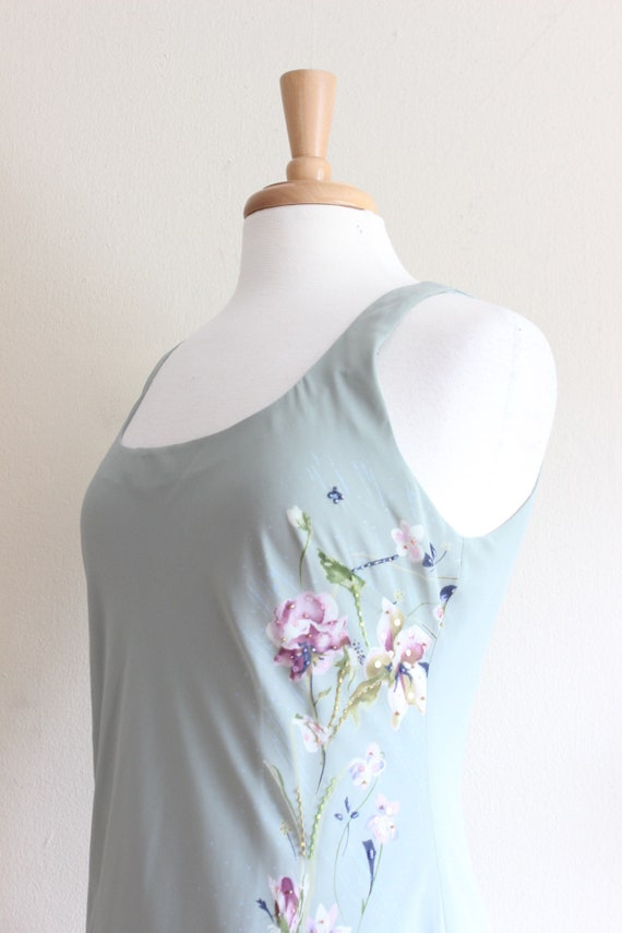 Vintage 1990s does 1930s Pale Green Beaded Floral… - image 8