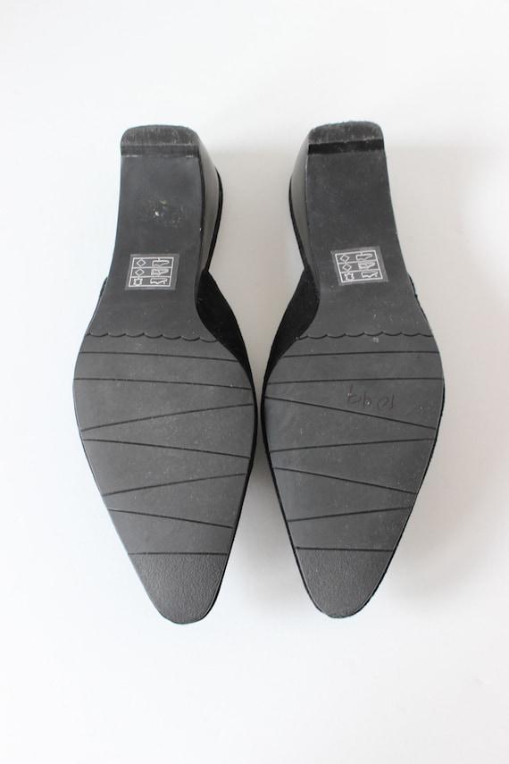 Vintage 1990s Moda Black Suede Pointy Toe Mules, … - image 7
