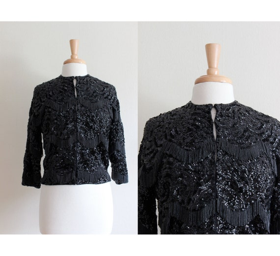 Vintage 1950s Black Beaded Fringe & Sequin Cardiga