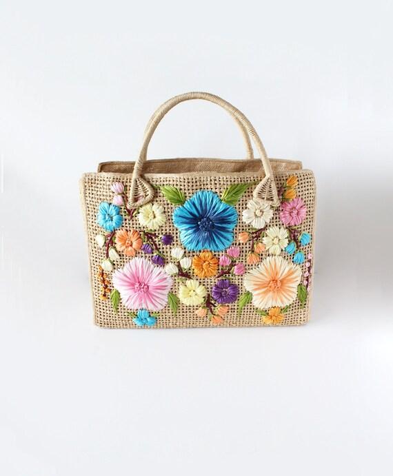 Vintage 1960s Cabana Raffia Flowers Woven Straw To