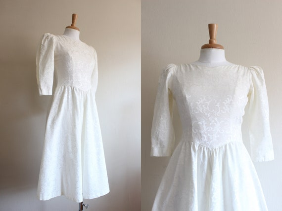 Vintage Puff Sleeve Ivory Damask Lanz Dress