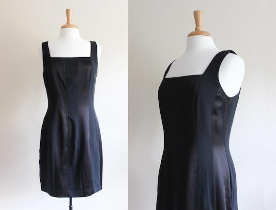 Vintage 1990s Laundry Black Satin Stripe Mini Dres