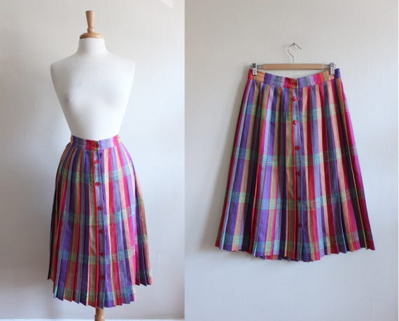 Vintage Bright Rainbow Plaid Midi Skirt
