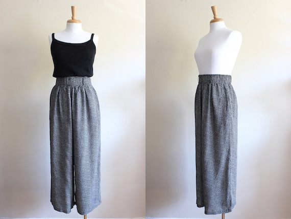 Vintage Black & White Print High Waist Wide Leg Pa