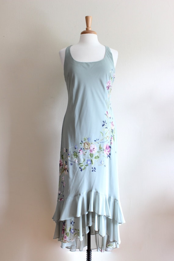 Vintage 1990s does 1930s Pale Green Beaded Floral… - image 2