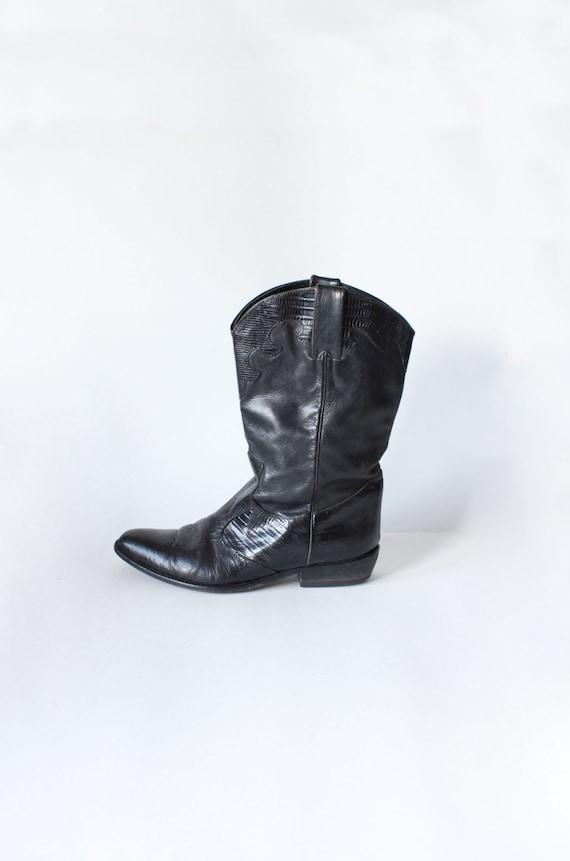 Black David amp; Boots size 39 Leather 5 Joan Vintage Cowboy qU7xvB