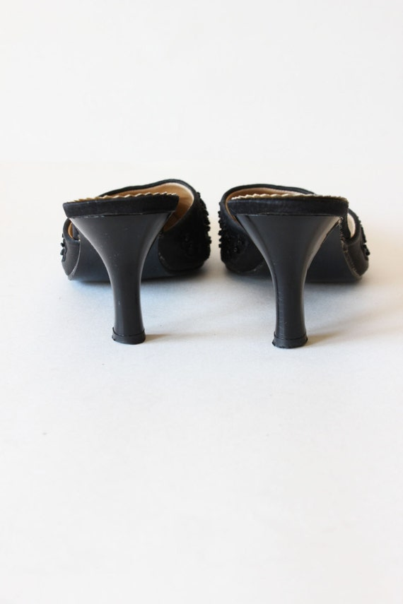 Vintage 1990s Black Beaded Satin High Heel Mules,… - image 4