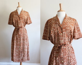 Vintage Rust & Cream Batik Print Shirtwaist Dress