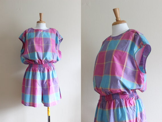 Vintage 1980s Deadstock Purple & Pink Plaid Romper