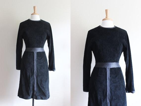 Vintage Long Sleeve Black Leather Trim Suede Dress