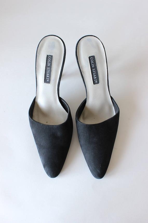 Vintage 1990s Black Suede Stiletto Mules, size 7 - image 2