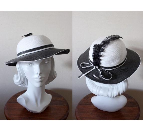 1960s Hat   Vintage Black   White Wide Brim Hat with Feathers  59d020d3d15b