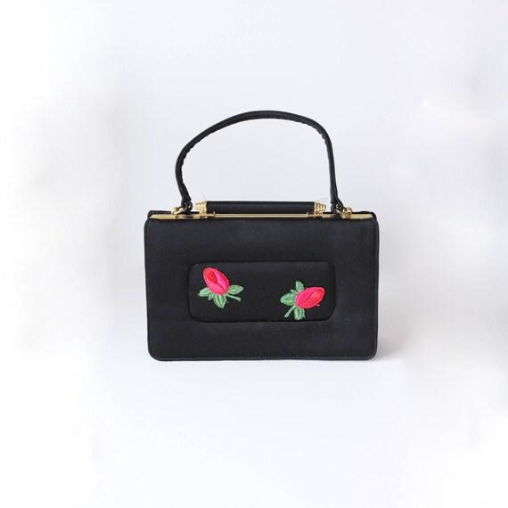 1950s Bag / Vintage Stylecraft Miami Black Rosebud