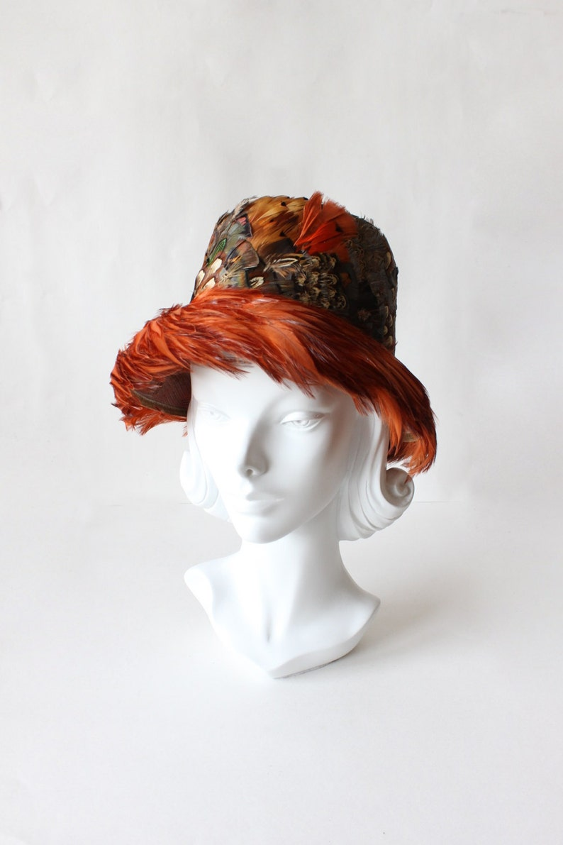 7760542eb9445 1950s Hat   Vintage Rust Pheasant Feather Bucket Hat