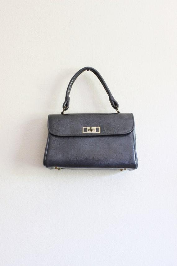 Vintage 1950s Grey Vinyl Top Handle Bag