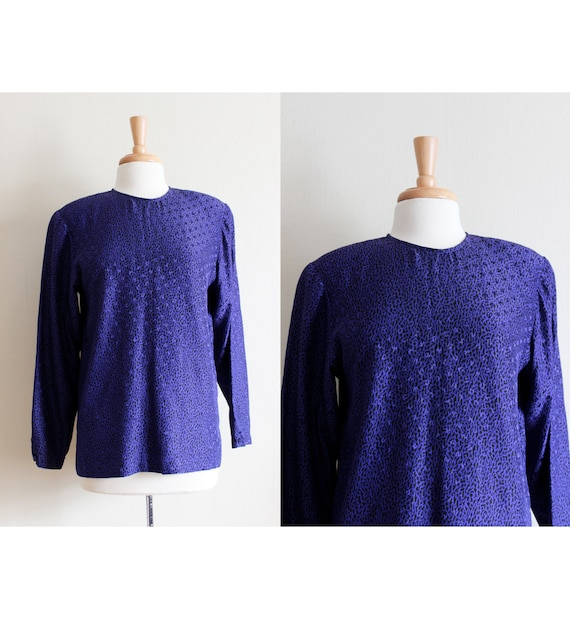 Vintage Purple Silk Jacquard Long Sleeve Blouse