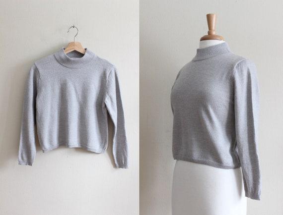 Vintage 1990s Grey Merino Wool Mock Neck Cropped S