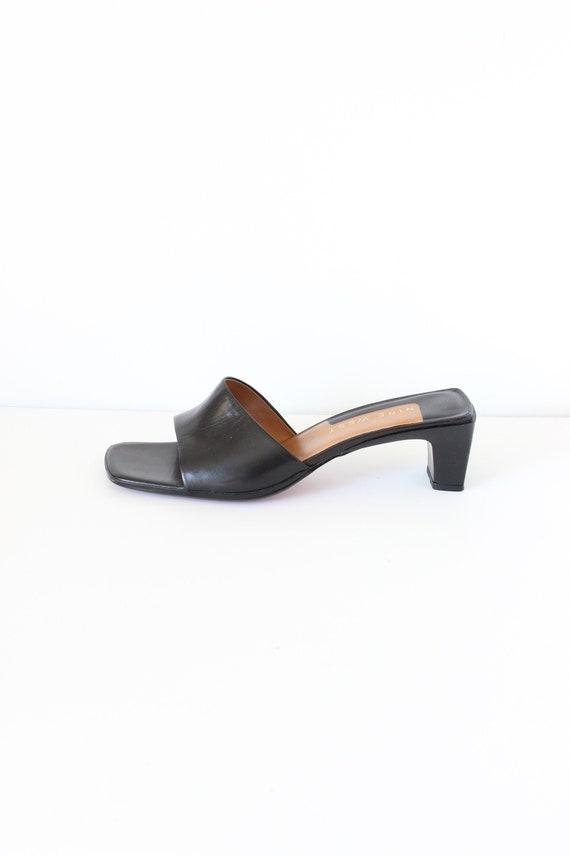 Vintage 1990s Nine West Black Leather Slides, size