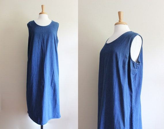 Vintage 1990s Sleeveless Denim Midi Dress