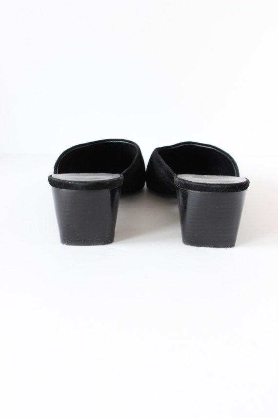 Vintage 1990s Moda Black Suede Pointy Toe Mules, … - image 6